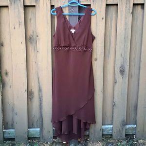 Jessica halter dress, ruffled hem, brown, 18